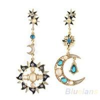 Fp8Z-New Style Fashion Star Sun Moon Rhinestone Crystal Stud Dangle Pretty Earrings