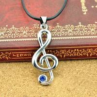 Fz7a-Fashion Music Notation Blue Rhinestone Leather Rope Pendant Necklace
