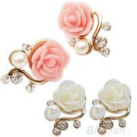 FzzP-Style Pink Rose Flower Shiny Crystal Rhinestone Pearl Stud Earrings
