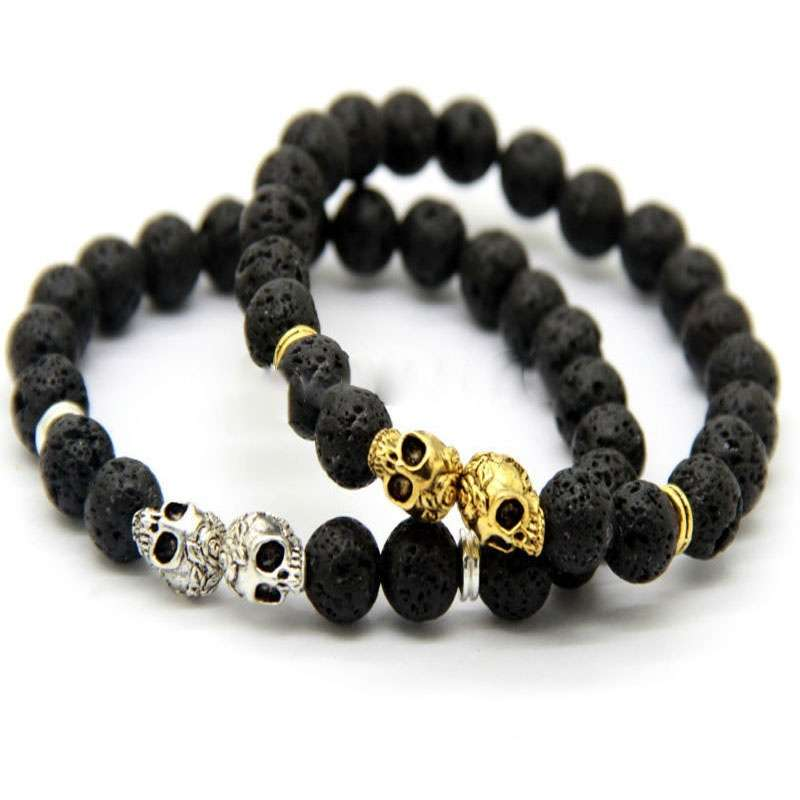 QI New Products Retail Christmas Elegant Gift 8MM Lava Stone Beads Black Gold & Silver Skull cool party Yoga Bracelets Party Gift FB323