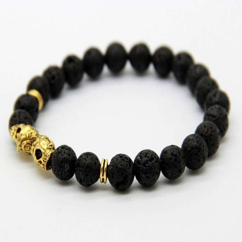 QI New Products Retail Christmas Elegant Gift 8MM Lava Stone Beads Black Gold & Silver Skull cool party Yoga Bracelets Party Gift FB323-2