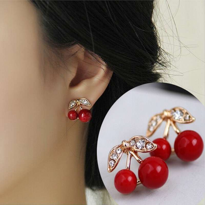 Women Charm Trendy Red Cherry Earrings Cute Beads Rhinestone Leaf Stud Earrings WIS-long