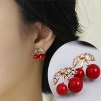 JBNL-Women Charm Trendy Red Cherry Earrings Cute Beads Rhinestone Leaf Stud Earrings WIS-long