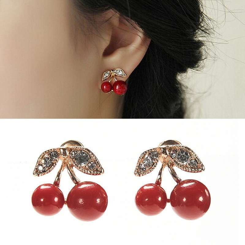 Women Charm Trendy Red Cherry Earrings Cute Beads Rhinestone Leaf Stud Earrings WIS-long-1