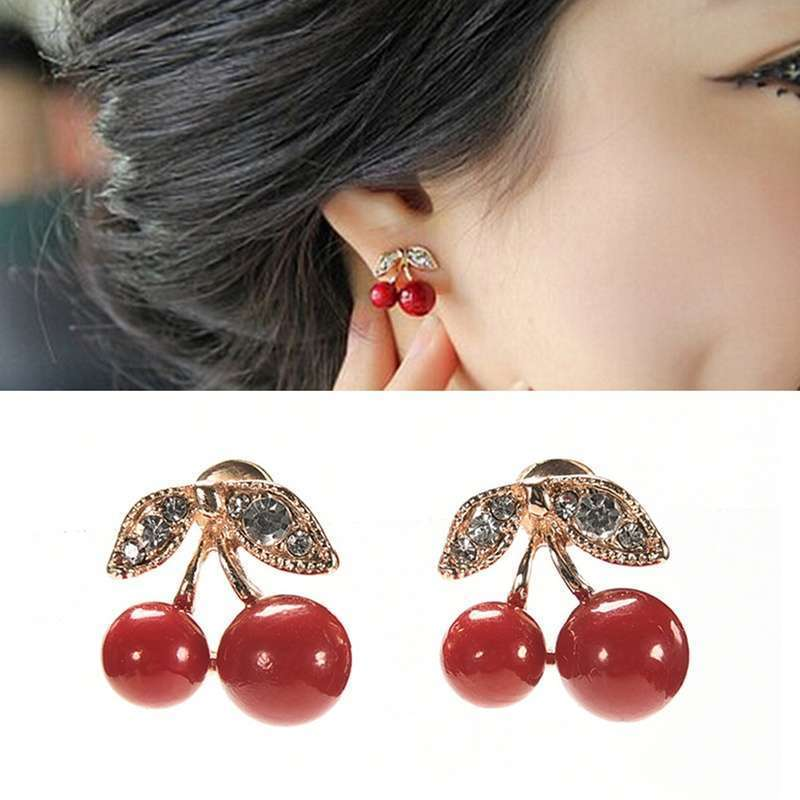Women Charm Trendy Red Cherry Earrings Cute Beads Rhinestone Leaf Stud Earrings WIS-long-3