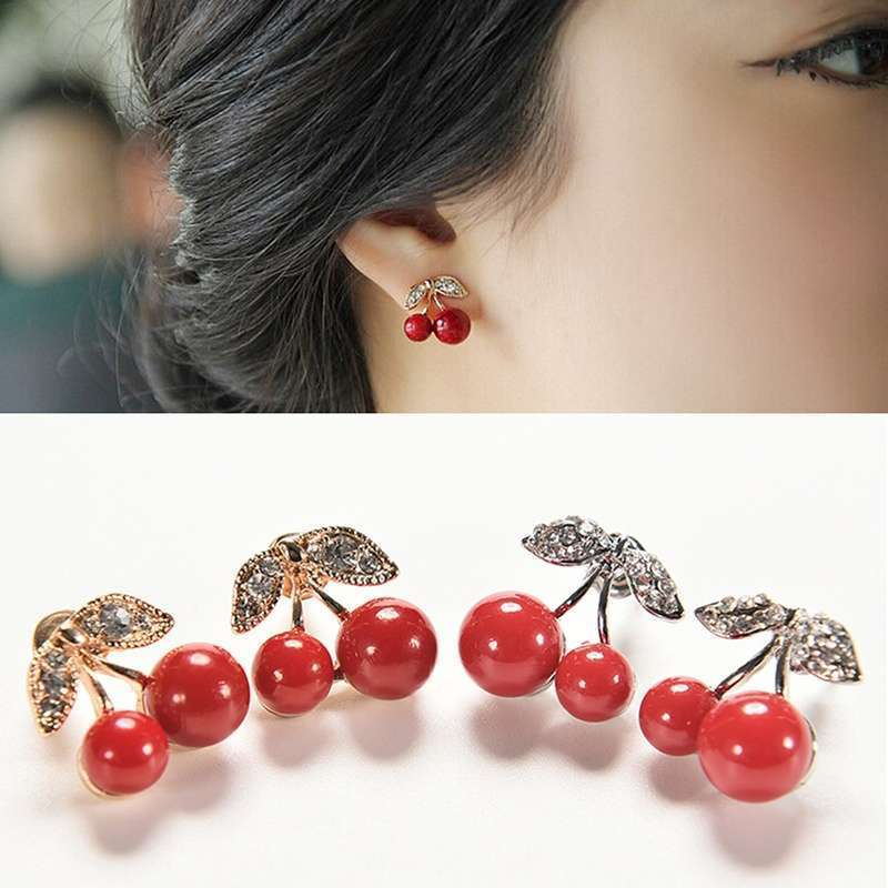 Women Charm Trendy Red Cherry Earrings Cute Beads Rhinestone Leaf Stud Earrings WIS-long-4