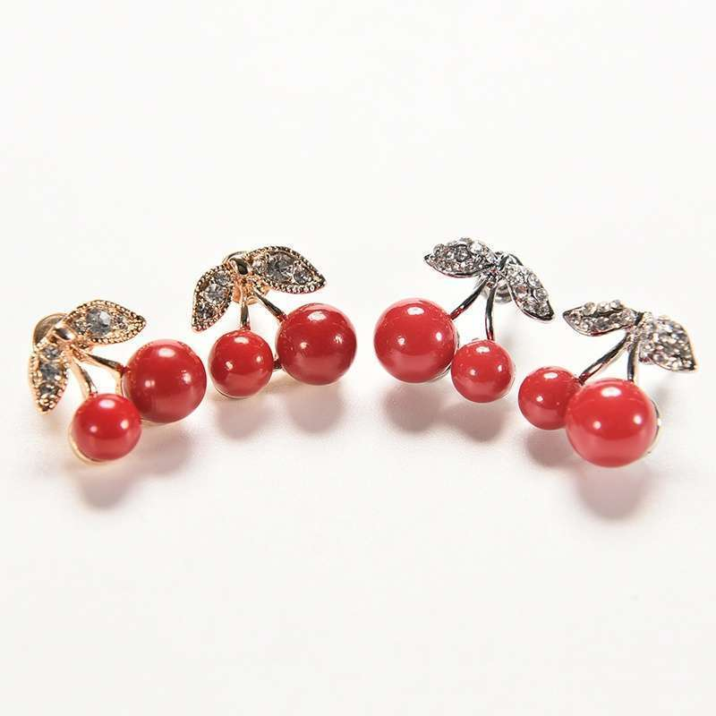 Women Charm Trendy Red Cherry Earrings Cute Beads Rhinestone Leaf Stud Earrings WIS-long-5