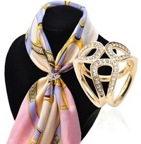 JCLh-Scarf Buckle Wedding Tricyclic Ring Brooch Flower Lapel Breastpin