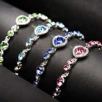 JH1Z-Heart Type 5 Color Crystal Inlaid Women Silver Bracelets