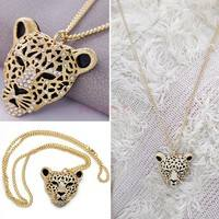 JKEZ-Rhinestone Leopard Tiger Head Chain Necklace Sweater Golden