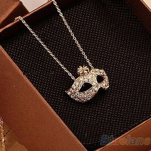 Women's Vintage Retro Style Charm Fox Mask Necklace Pendant-4