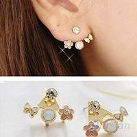 JRKK-Fashion Lovely Style Rhinestone Butterfly Flower Mounted Stud Earring