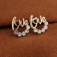 JSlj-Diamond LOVE Alphabet Earrings Heart Shaped
