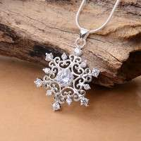JTva-925 Sterling Silver Snowflake Pendant Snake Chain Necklace