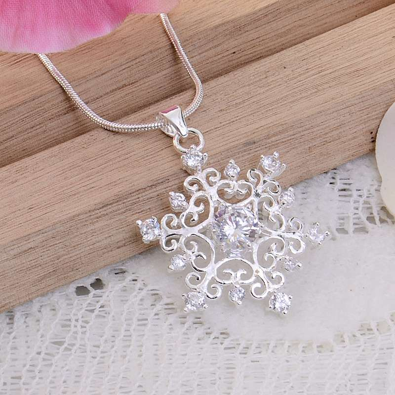 925 Sterling Silver Snowflake Pendant Snake Chain Necklace-1