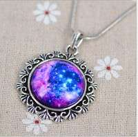 JUQ0-Fashion Cabochon Jewelry Vintage Choker Antique Silver Alloy Galaxy Collar Statement Necklaces?for Lover