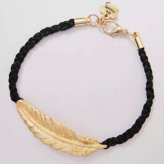 Unisex Fashion Creative Leaf Bracelet Metalic Feather Knit Personality Gold Blue Red Green Black Jewelry Gifts Women Men-3