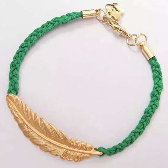Unisex Fashion Creative Leaf Bracelet Metalic Feather Knit Personality Gold Blue Red Green Black Jewelry Gifts Women Men-5