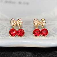 Jcr9-Women Pretty Fashion Crystal Cherry Bow Knot Stud Earrings Cute Rhinestone Earrings Beautiful Space (Color: Red)