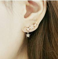JmHo-Arrival Women Rhinestone Star Earrings Pentacle Pendant Stud Earrings Female