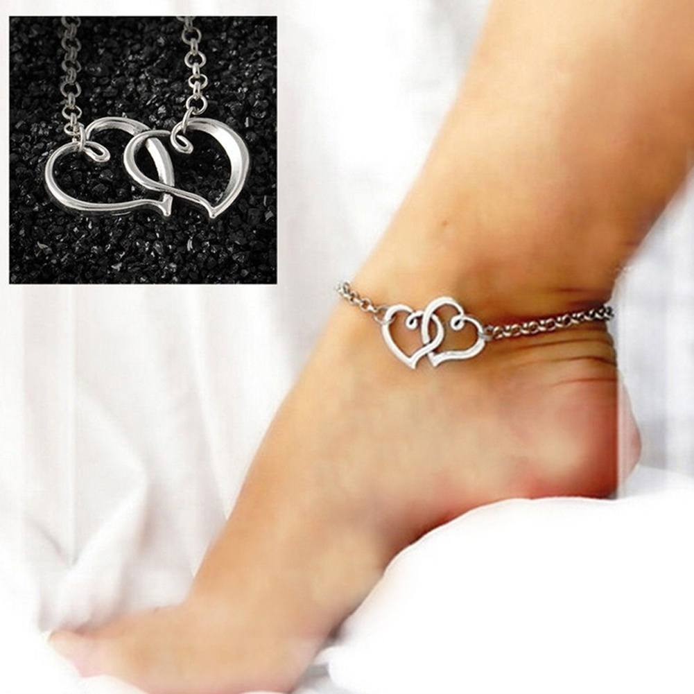 Sexy Women Jewelry Double Heart Chain Beach Sandal Anklet Ankle Bracelet