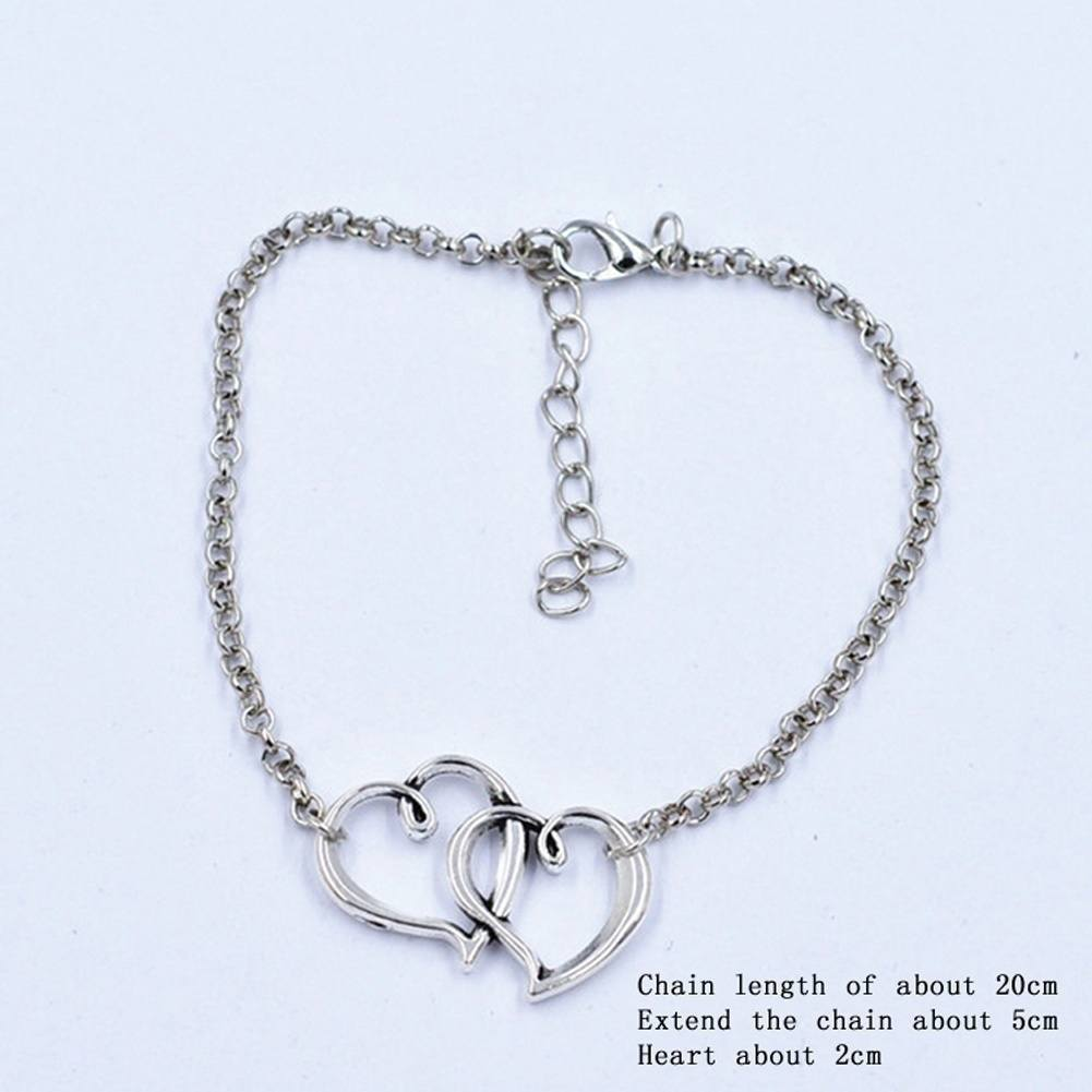 Sexy Women Jewelry Double Heart Chain Beach Sandal Anklet Ankle Bracelet-2