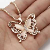 JnC0-Women Lady Rose Gold Opal Butterfly Pendant Necklace Sweater Chain