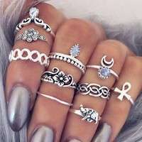 JsZM-Women Fashion Hot 10PC/SET Retro Vintage Punk Knuckle Tribal Ethnic Joint Jewelry Rings Set