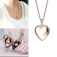Jt5t-Fashion Girls Heart Shaped Friend Photo Picture Frame Locket Pendant Necklace