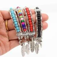 JvFH-New And Fashion Europe Exaggerated Fashion Jewelry Ethnic Tibetan Silver Turquoise Bracelet Feather Bracelet