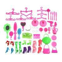 KIPH-50Pcs Doll Accessories Barbie Dolls Accessories Shoes Bag Mirror Hanger Comb Bracelet Toy For Dolls Toys Child