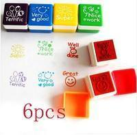 KVqE-6x Teacher Stamper Self-Inking Praise Reward Stamps Family Motivation Sticker