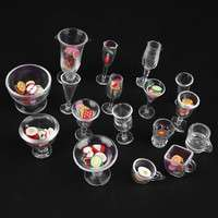 Kghh-Set Dollhouse Mini Plastic Drink Cups DIY Goblets Dish Plate Tableware Toy Set