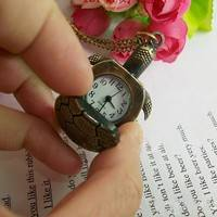 KiP4-Jewelry For Child Long Sweater Chain Bronze Pocket Watch Turtle Necklace Quartz Retro
