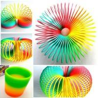 Klcm-Lovely Colorful Rainbow Plastic Magic Slinky Children Classic Development Toy