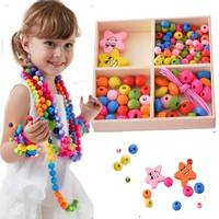 Ktkz-Colorful Wood Beads Kit Necklace Bracelet DIY Kids Craft Set 1Box