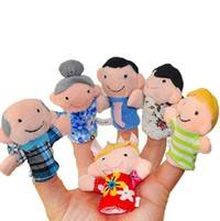 Ktp5-6pcs Cute Family Reunions Harmony Cloth Finger Puppets Plush Doll Baby Educational Hand Toy Gift