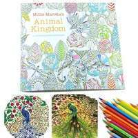 KwmK-Children Adult Animal Kingdom Treasure Hunt Coloring Painting Book