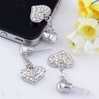P9M9-Universal 3.5mm Crystal Heart Dangle Anti Dust Earphone Jack Plug Stopper For IPhone4 4s 5 IPod  IPad HTC Samsung