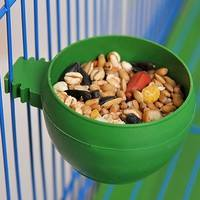 uXuJ-4CM Plastic Round Bird Parrot Aviary Pet Cage Water Food Feeder Feeding Bowl